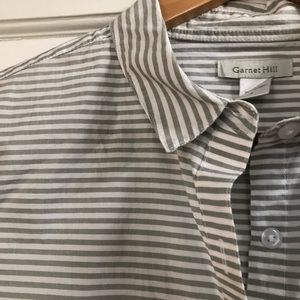 Garnet Hill 100% Cotton Gray/White Striped Top, 6
